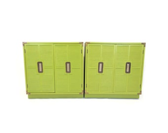 Vintage Dresser Set In Banana Leaf Green