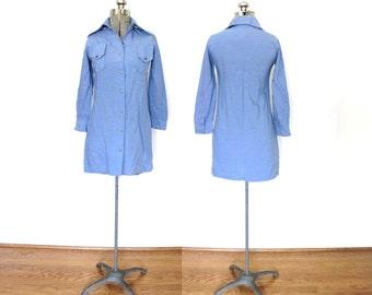 1970s Mini Dress / 70s Chambray Blue Western Mini Dress