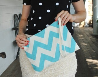 "Clutch ""Melody"" Chevron aqua/ Beautiful textured fabric/"