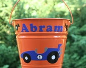 Personalized Halloween bucket for boys - Racecars with candy and Halloween saying