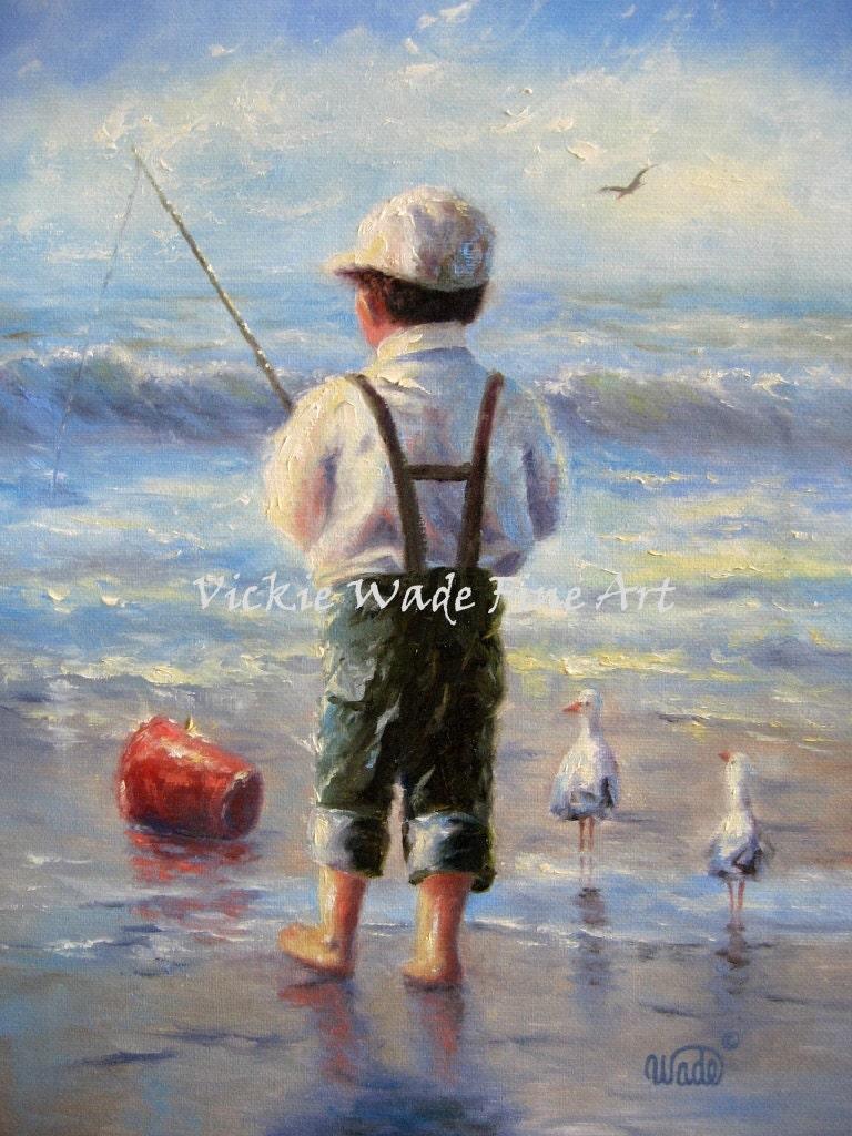 Little Beach Boy Original Oil Painting 11x14 Wall Art Little