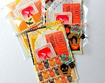 Halloween Mini Paper Pack / 20 Pieces / Vintage & New  / DIY Kit