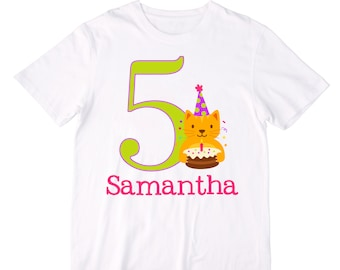 Personalized Party Cat Birthday Shirt or Bodysuit - Personalized with ANY Name and Age