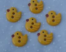 6 Yellow Plastic Duck Buttons, Figural Two Hole 1/2 Inch