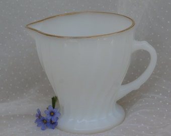 Anchor Hocking Swirl with Gold Trim Creamer, White Milk Glass