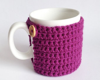 Crochet Mug Cosy With Built in Coaster in Plum