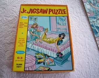 Vintage WHITMAN Jr JIGSAW PUZZLE Pajama Party 1950s Baby Pink Aqua Blue Box Child Children Boy Girl Kid Series Lady Bed Record Pjs Teenager