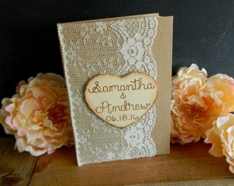 Rustic Guest Book Burlap & Lace Guestbook Kraft Notebook Woodland Shabby Chic Bridal Shower Guest Book Baby Shower Guest Book