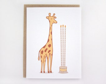 Giraffe Birthday Cake - Birthday Card
