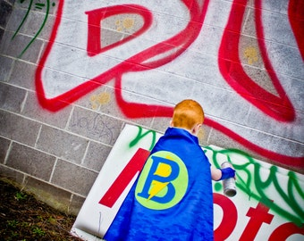 Superhero Cape Personalized Letter Lightening Bolt Blue and Lime , 2T - 7T, cloak boy toy fast delivery to Europe