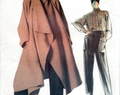 1980s Issey Miyake Very Loose Fitting Coat, Shirt and Pants - Vintage Vogue 1476 - Bust 32 UNCUT FF