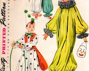 1950s Kids Clown Costume Pattern - Vintage Simplicity 4072 - Size Small FF UNCUT