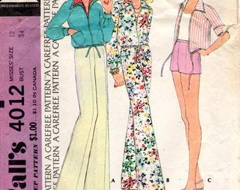 1970s Jacket, Wide Leg Pants or Shorts - Vintage Pattern McCall's 4012 - B34