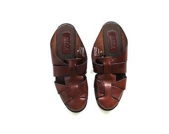 SALE Vintage Leather Sandals 7.5 / Brown Leather Sandals / Leather Slides