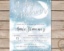 Twinkle Twinkle Little Star baby shower invitations / moon and stars baby shower invitation / printable invite or printed cards