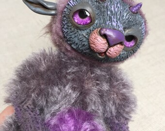 Piksel Creature Original Artist Doll Ooak Artist Teddy Bear Art Doll Sculpture Figurine Super Sculpey Animal Genesis Fur Grey Violet