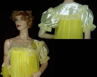 70s canary yellow nylon chiffon peignoir Medium ~ 1930s ruffles lace satin roses nightgown robe housecoat set ~ bombshell ~ made in USA