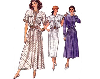 80s Shirtdress pattern Vogue 9872 Vintage Sewing Pattern Full or Straight Skirt Size 14 16 18 Bust 36 38 40 inches UNCUT Factory Folds