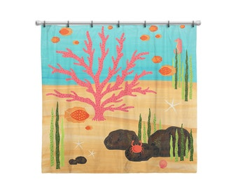Shower Curtain for Kids Bathroom from Hand Painted Images - Under the Sea Ocean Theme Coral Reef - Children's Bath Decor