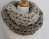 Infinity Scarf.  Super Chunky Hand knit Merino Wool