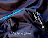 Norse Full Blue Moon In Aquarius Wand with Horsehair, Silver chain with Viking Embellishments