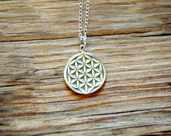 Flower of Life Charm Sterling Silver Necklace Sacred Geometry Jewelry