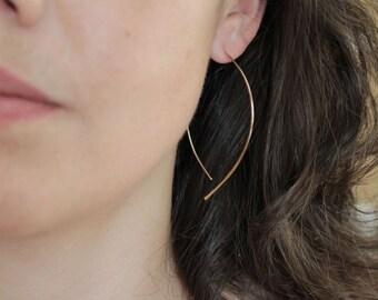 Gold Earrings - Thin Gold Almond Hoops - minimalist jewelry, gold wishbone earrings, thin gold hoop earrings, unique earrings