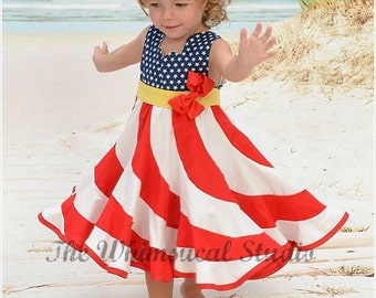 Red White & Blue Swirl Dress - Flag Swirl Dress - Patriotic Swirl Dress - American Flag Dress - Girls Stars and Stripes Dress- Pageant Dress