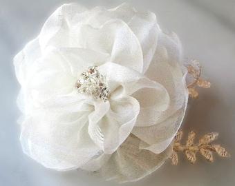Ivory Wedding Hair Flower, Bridal Fascinator, White, Ivory, Champagne Silk Organza Bridal Flower, Lace Hair Clip- APRIL