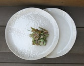 Handmade Ceramic Dinner Plate Dinnerware Dining Simple and Rustic Floral Textured Porcelain White, Artisan Pottery by Licia Lucas Pfadt