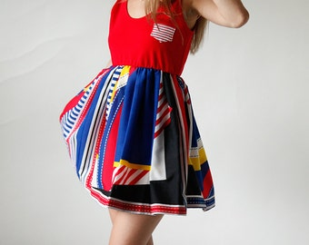 Blue and Red Striped Playful Mini Sundress Eco Friendly Womens Apparel by Tammy Jo Fashion