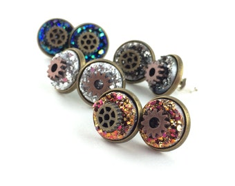 Steampunk Earring Studs - Steam Punk Costume Accessories - Fake Gauge Studs - Mismatch Earrings - Glitter Stud Earrings