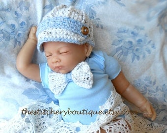 Newborn boy hat baby boy newsboy hat coming home outfit Bowtie  Photo prop hat white blue tweed baby boy clothes crochet newsboy hat