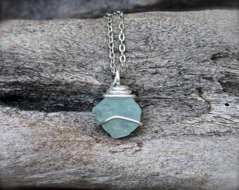 Raw Topaz Jewelry - Light Blue Topaz Necklace - Raw Stone Jewelry - Rough Gemstone Necklace - Boho Jewelry - Gypsy Necklace - Wiccan Pendant