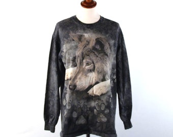 Gray Wolf Long Sleeve Tye Die Tee / Excellent Condition