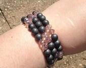 Hematite and Chinarovski Bracelet - memory wire - pink