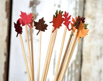 Fall Leaf Dessert Toppers or Drink Stirrers - 12 red, orange, yellow, green, burgundy and brown autumn party picks