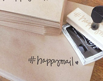 Hand lettered HAPPYMAIL with Heart & hashtag Wood Stamp  - happy mail stamp - stationery rubber stamp, shop supply, penpals