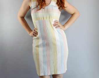 SALE - Vintage 90s Womens Judy Hornby Pastel Stripes Curve Hugging Summer Shift Dress