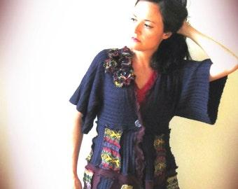 Upcycled Sweater Coat, Long Cardigan, Elf Sweater Coat, Upcycled Clothes, Patchwork Recycled Sweater Coat, Eco Friendly Fashion, Pixie Coat