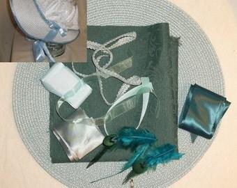 Bonnet Kit- DIY- Teal Blue and Aqua Blue- Regency, Georgian, Jane Austen Era Bonnet