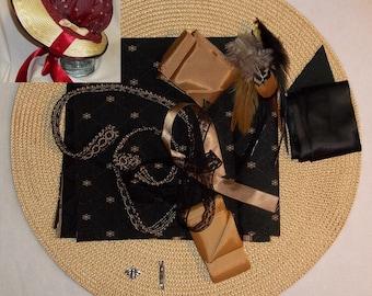 Bonnet Kit- DIY- Black and Gold- Regency, Georgian, Jane Austen Era Bonnet