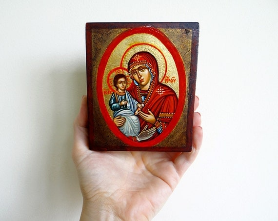 Three Handed Madonna Icon, Virgin Mary with three hands and Christ, handpainted icon original 5 by 4 inches