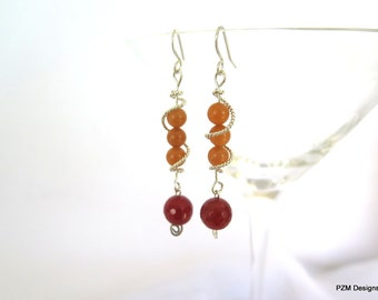 Wire wrapped earrings, sterling silver, orange carnelian and aventurine, gift under 40