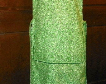 "Extra Extra Long 51"" Kitchen Cobbler Lined Apron Smock Floral on Green Handmade Excellent Clothing Protector"