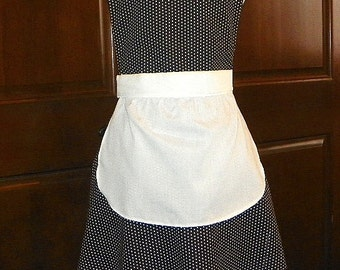 French Maid Apron Black with White Dots Handmade for you to use during your cleaning, cooking, entertaining activities