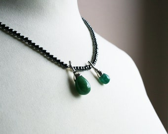 genuine emerald drops, hematite beads and sterling silver botanical necklace - OOAK, ready to ship