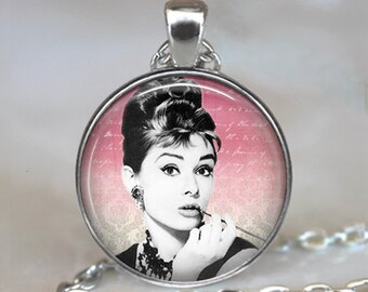 Audrey Hepburn necklace, Audrey Hepburn pendant, Hollywood actress, Classic movies pendant, Audrey Hepburn key chain key fob