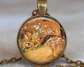 Gustav Klimt's Water Serpents necklace, Klimt art necklace, Klimt art pendant, Klimt art jewelry Klimt necklace keychain key chain key ring
