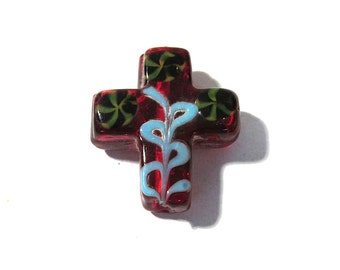 Lampwork Glass Cross Bead VINTAGE Glass CROSS Bead Red Glass Venetian Focal Bead Religious Rosary Vintage Jewelry Supplies Glass Bead (G33)